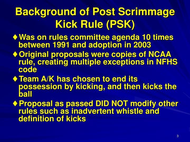 Background of post scrimmage kick rule psk