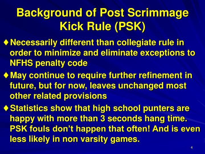 Background of Post Scrimmage Kick Rule (PSK)