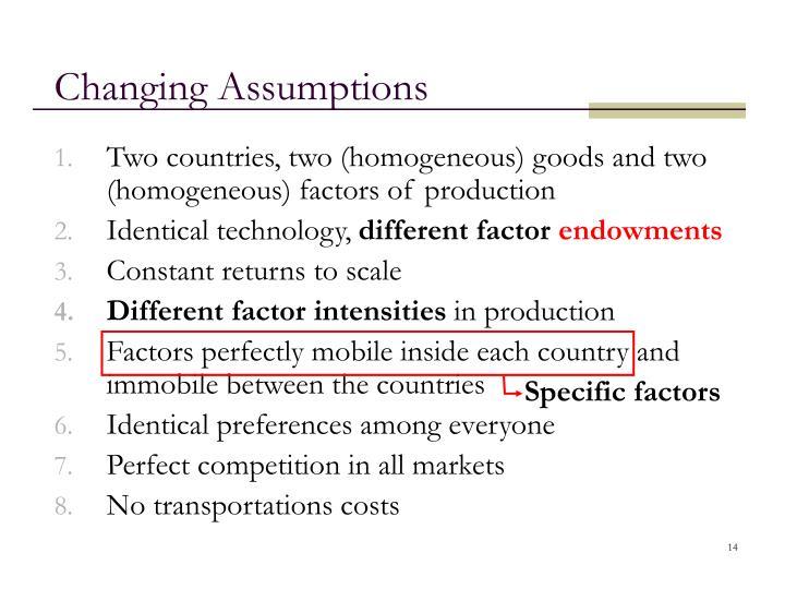 Changing Assumptions