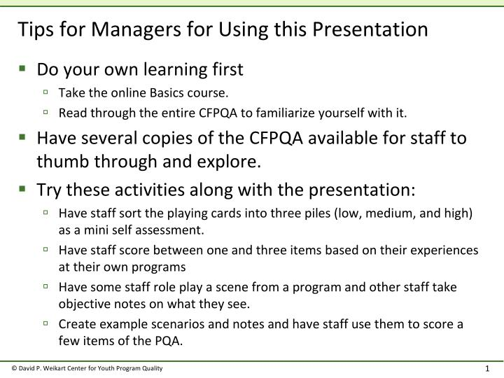 tips for managers for using this presentation n.