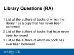 library questions ra