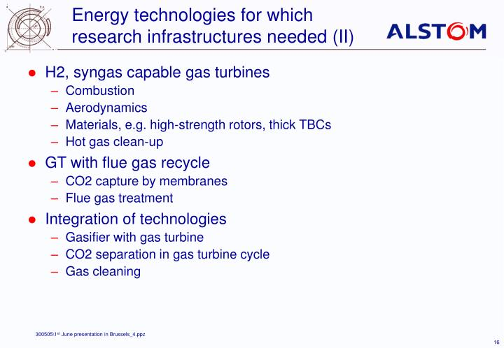 Energy technologies for which research infrastructures needed (II)