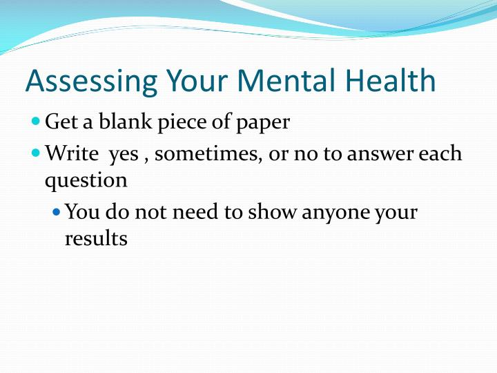 Assessing Your Mental Health
