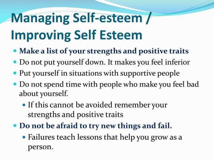 Managing Self-esteem / Improving Self Esteem