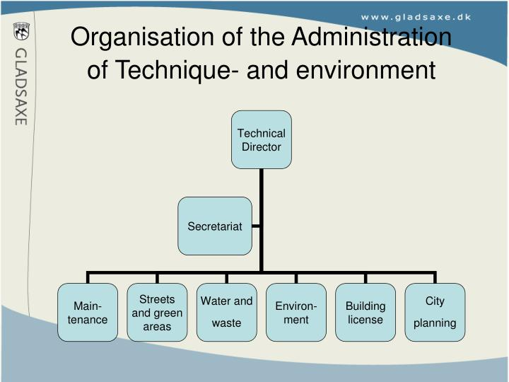 Organisation of the administration of technique and environment