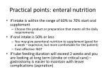 practical points enteral nutrition