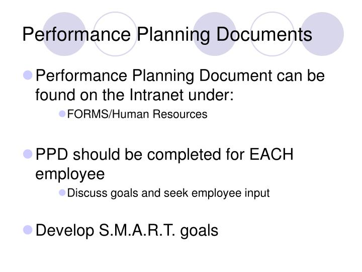 Performance Planning Documents
