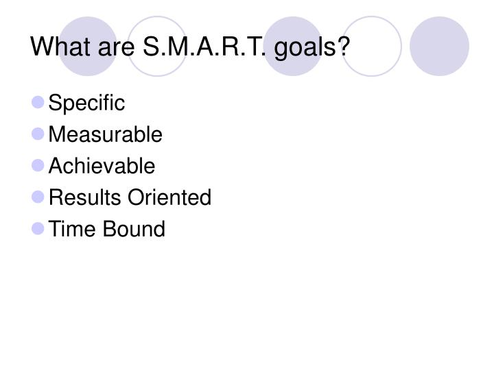 What are S.M.A.R.T. goals?