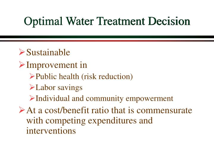 Optimal Water Treatment Decision