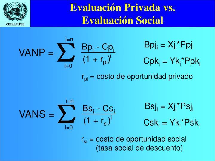 Evaluaci n privada vs evaluaci n social