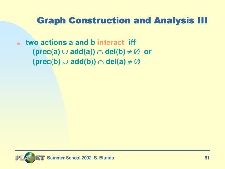 Graph Construction and Analysis III