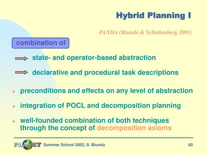 Hybrid Planning I