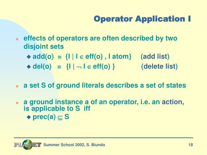 Operator Application I