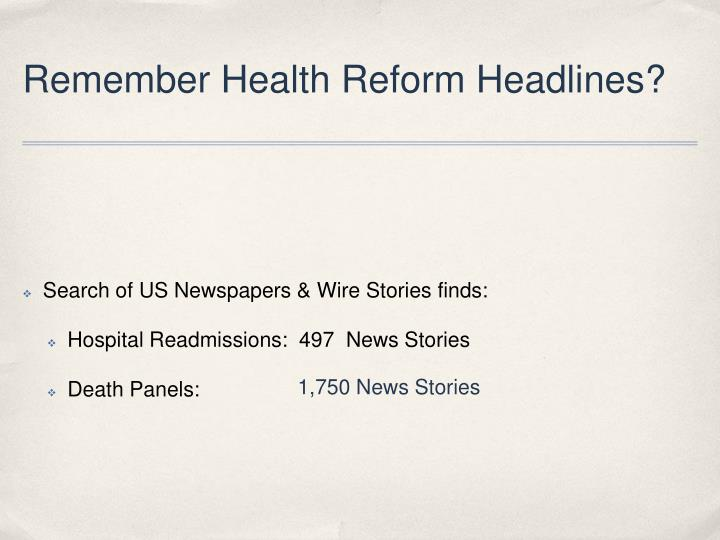 Remember health reform headlines