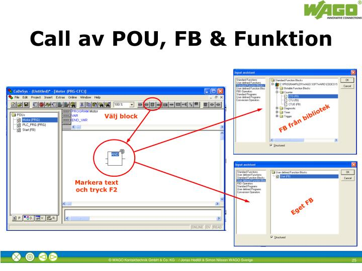 Call av POU, FB & Funktion