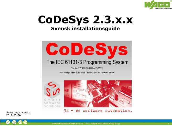 Codesys 2 3 x x svensk installationsguide