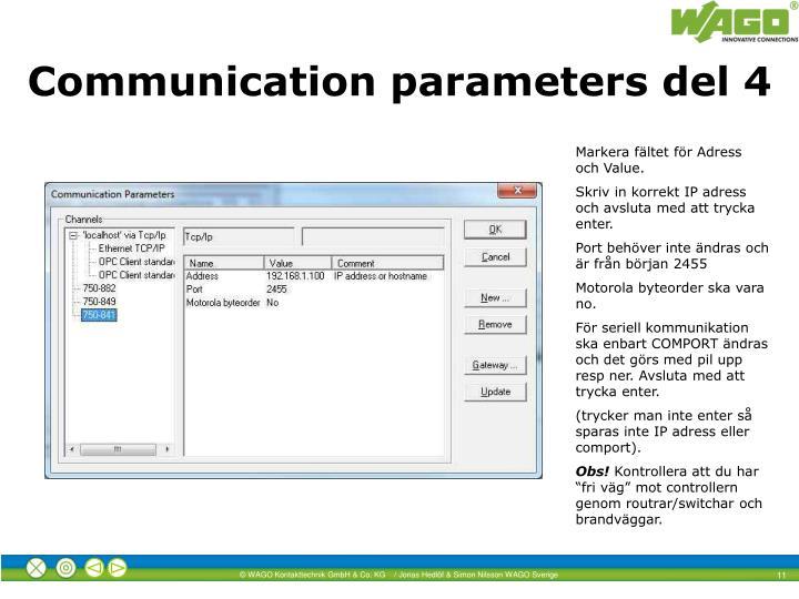Communication parameters del 4