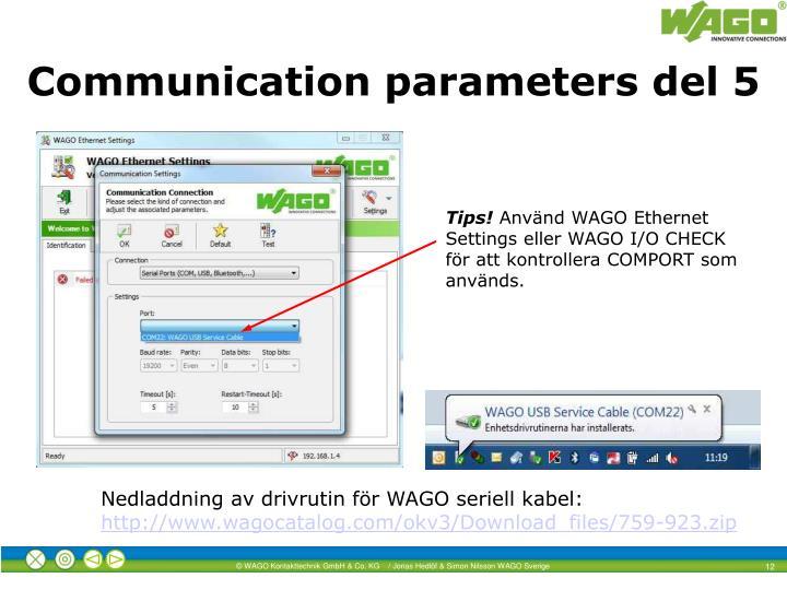 Communication parameters del 5