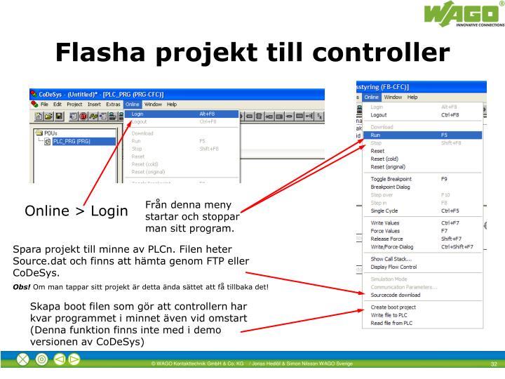 Flasha projekt till controller