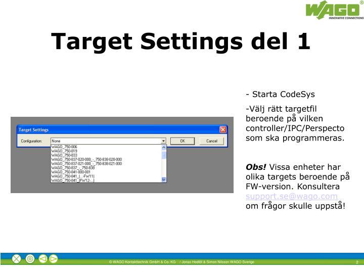 Target settings del 1