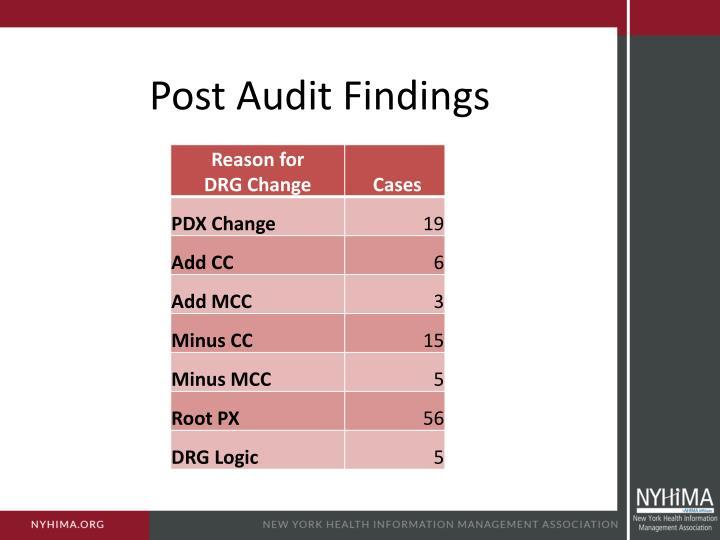 Post Audit Findings