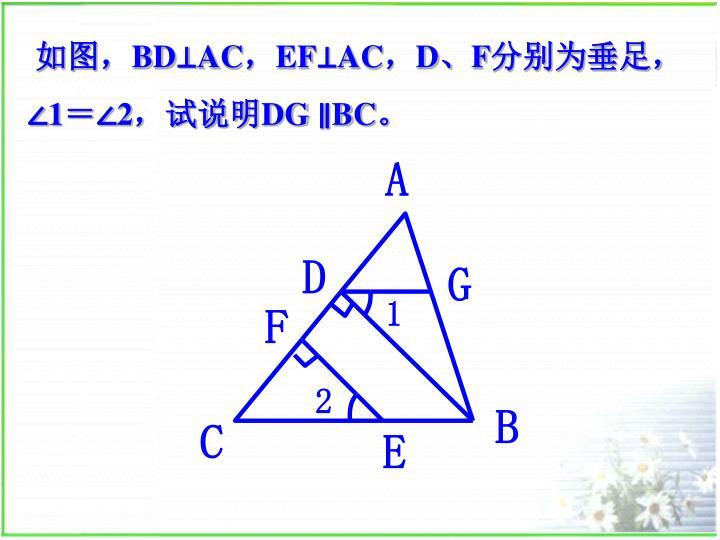 如图,BD⊥AC,EF⊥AC,D、F分别为垂足,∠1=∠2,试说明DG ∥BC。