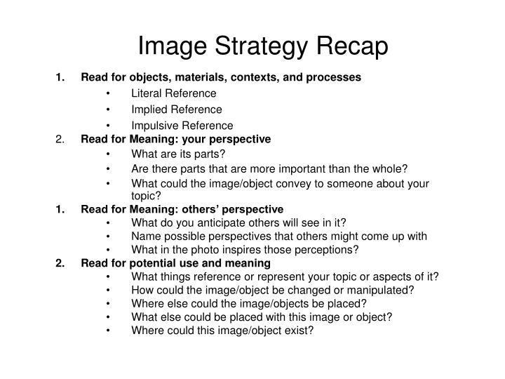 Image Strategy Recap
