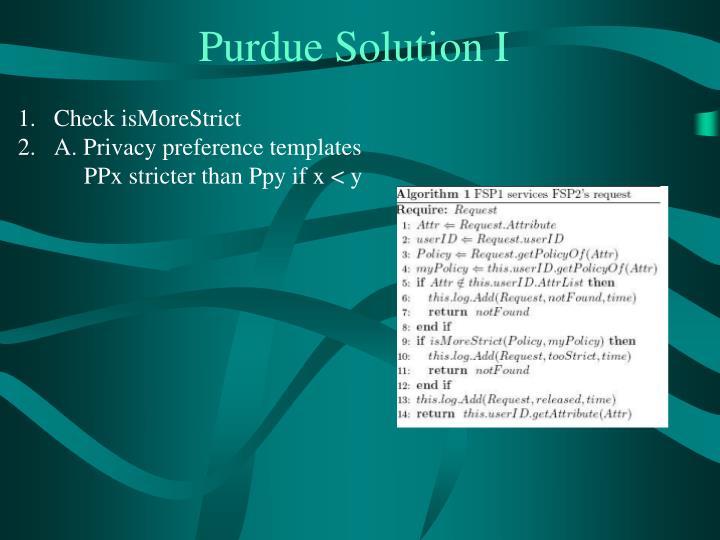 Purdue Solution I