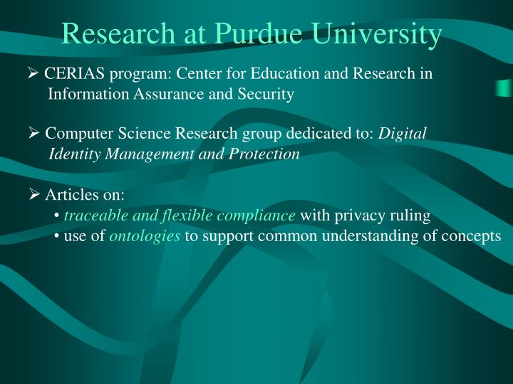 Research at Purdue University