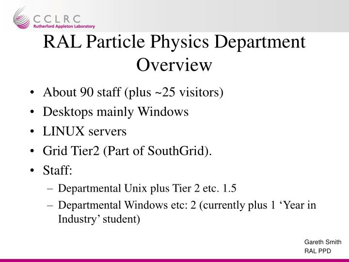 Ral particle physics department overview