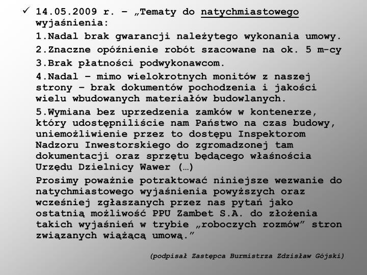 "14.05.2009 r. – ""Tematy do"
