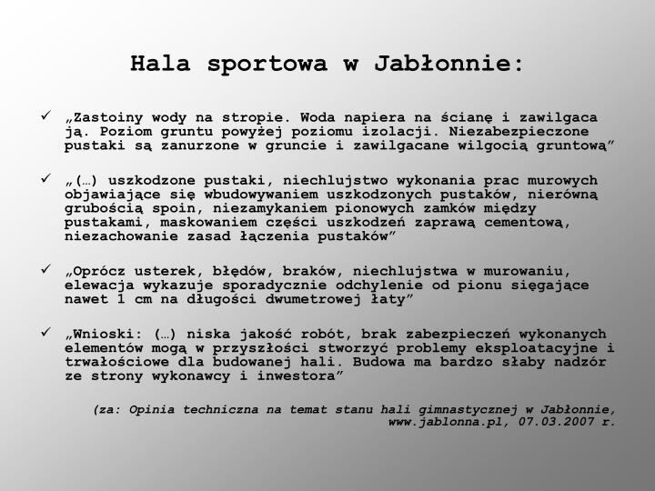 Hala sportowa w Jabłonnie: