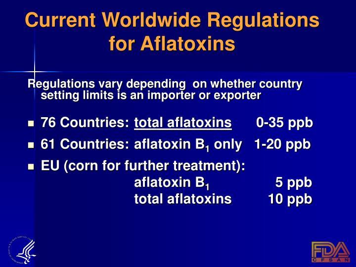Current Worldwide Regulations for Aflatoxins