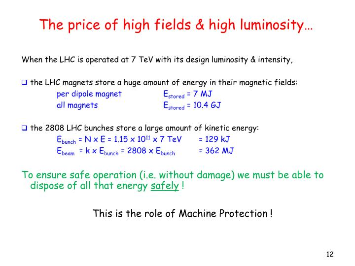 The price of high fields & high luminosity…