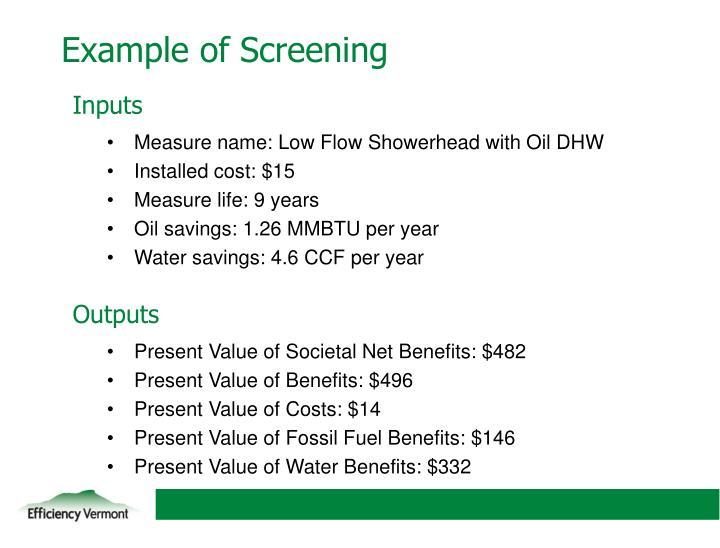 Example of Screening