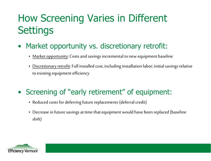 How Screening Varies in Different Settings