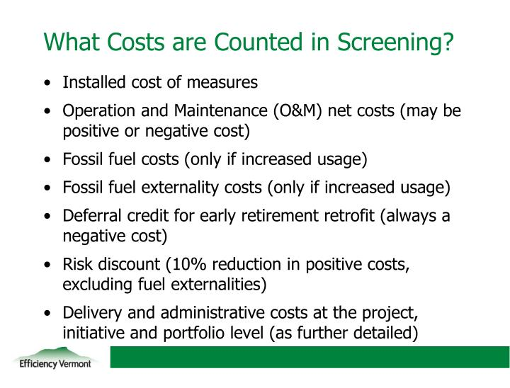 What Costs are Counted in Screening?