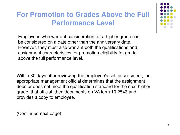 For Promotion to Grades Above the Full Performance Level