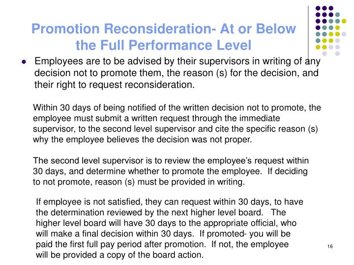 Promotion Reconsideration- At or Below the Full Performance Level