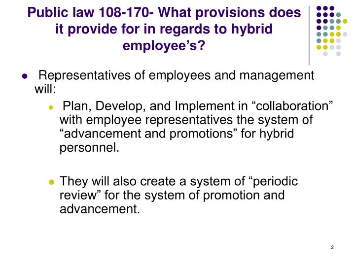 Public law 108 170 what provisions does it provide for in regards to hybrid employee s
