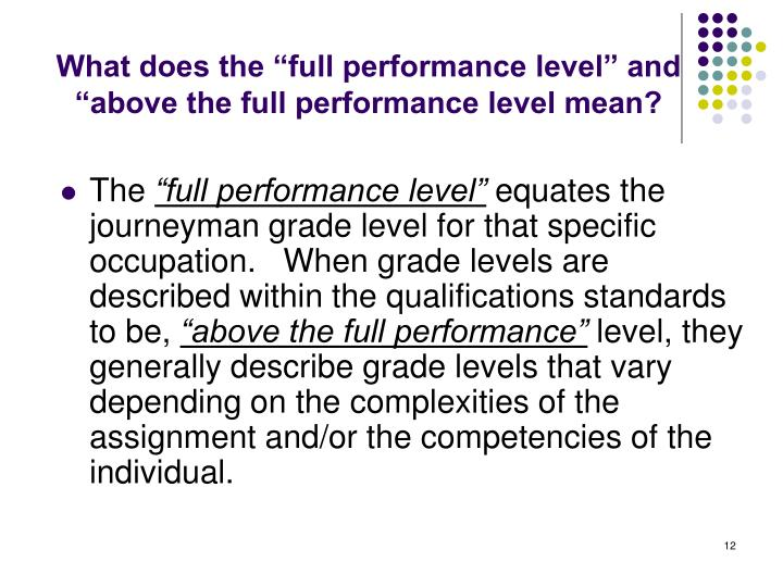 """What does the """"full performance level"""" and """"above the full performance level mean?"""