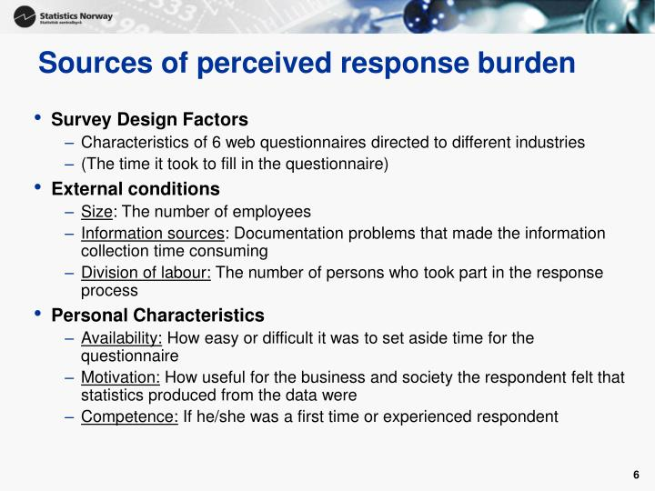 Sources of perceived response burden