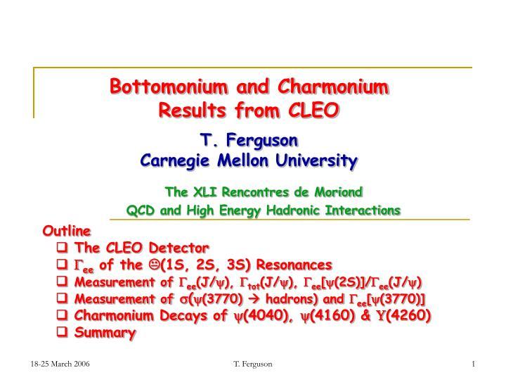 Bottomonium and charmonium results from cleo