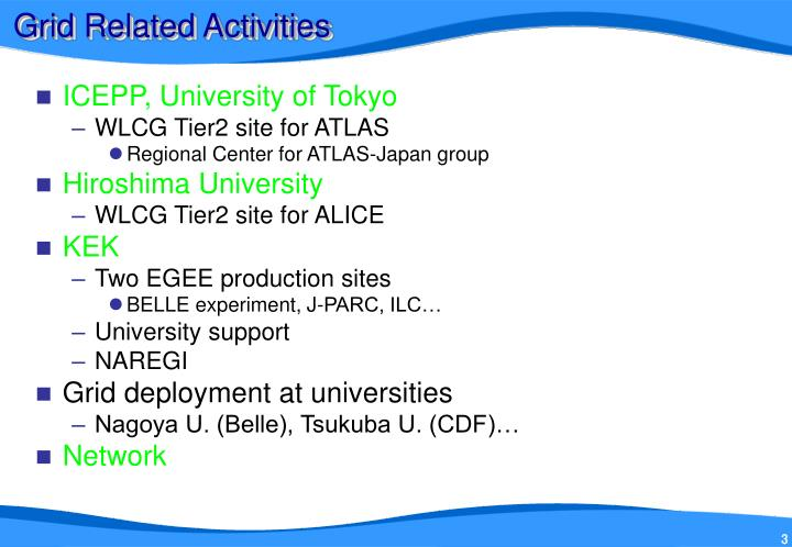 Grid related activities