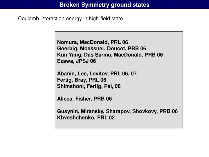 Broken Symmetry ground states