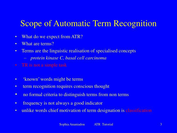 Scope of automatic term recognition