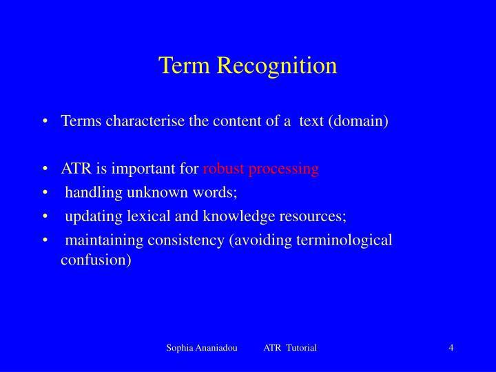 Term Recognition