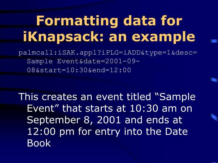 Formatting data for iKnapsack: an example