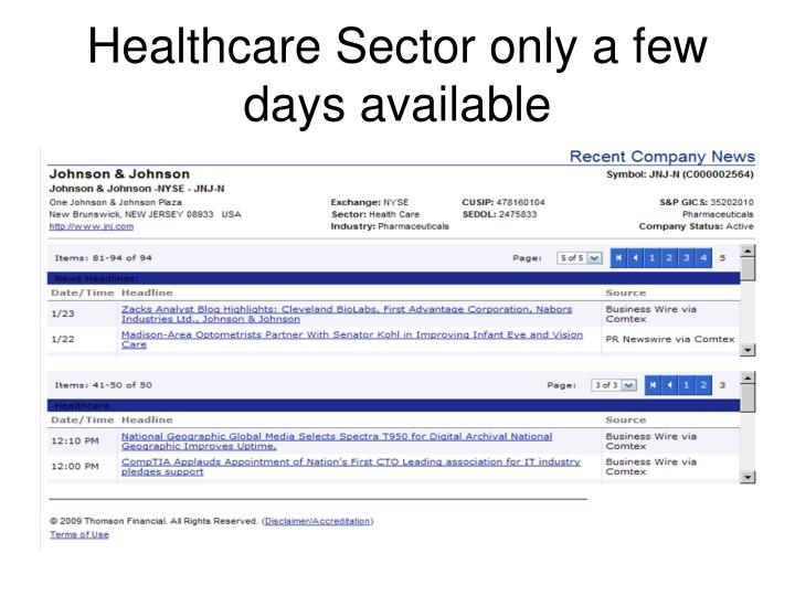 Healthcare Sector only a few days available