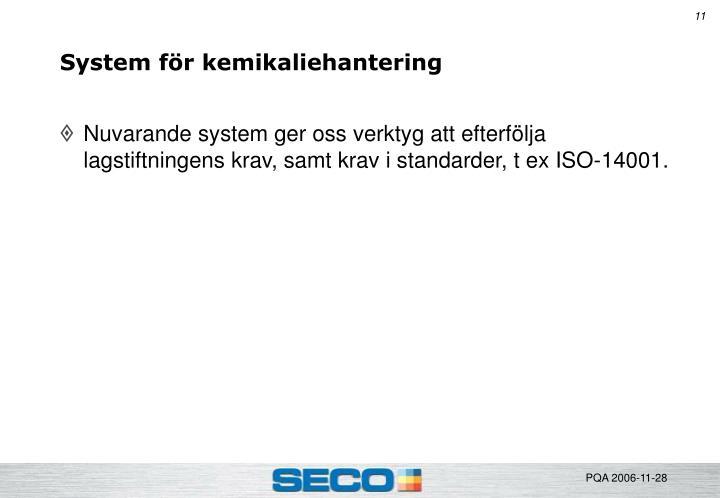 System för kemikaliehantering